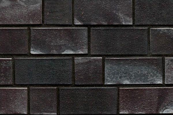 Strangpress-Klinker / Verblender BK-101-125-2DF (Zweifaches Dünnformat-Klinkerstein (2DF)) schwarz - blau - Kohle