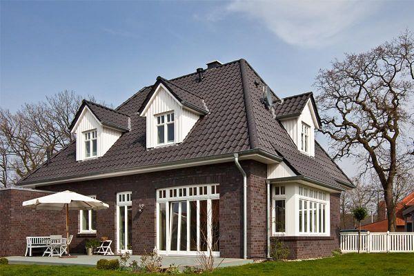 Einfamilienhaus H1 mit Klinker 101-108-NF braun - grau - geflammt