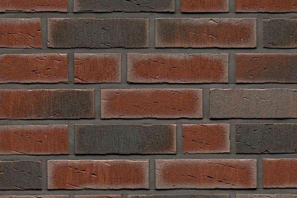 Strangpress-Riemchen BK-R-114-770 (Normalformat (NF)) rot - grau  nuanciert (Klinkerriemchen)