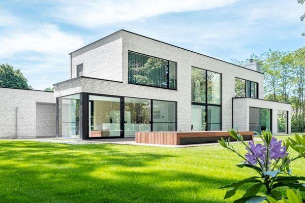 Bauhaus / Luxusvilla  H2 mit Klinker 103-145-WDF beige, braun nuanciert