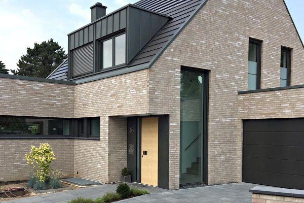 Einfamilienhaus mit Klinker 101-167-DF grau - beige