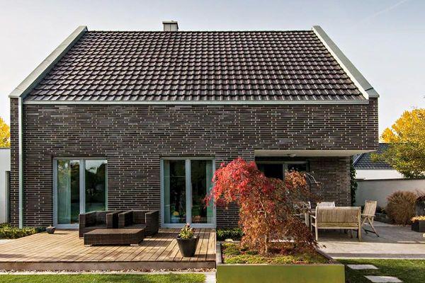 Stadtvila / Einfamilienhaus H2 mit Klinker 101-158-NF braun - blau - bunt