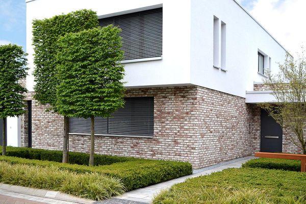 Bauhaus / Einfamilienhaus H2 mit Klinker 104-112-NF braun-weiß