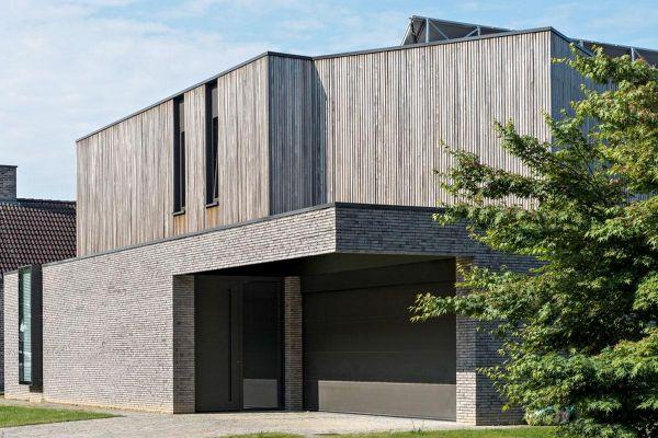 Bauhaus / Luxusvilla  mit Klinker 103-155-WDF grau, beige nuanciert