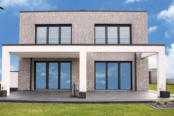 Bauhaus / Einfamilienhaus Im Bauhausstil mit Klinker 101-145-ModF beige - grau