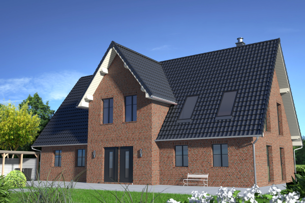 Einfamilienhaus H2 mit Klinker 104-110-NF rot-bunt