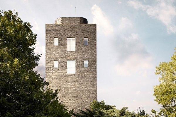 Bürogebäude H1 mit Klinker 101-125-2DF schwarz - blau - Kohle