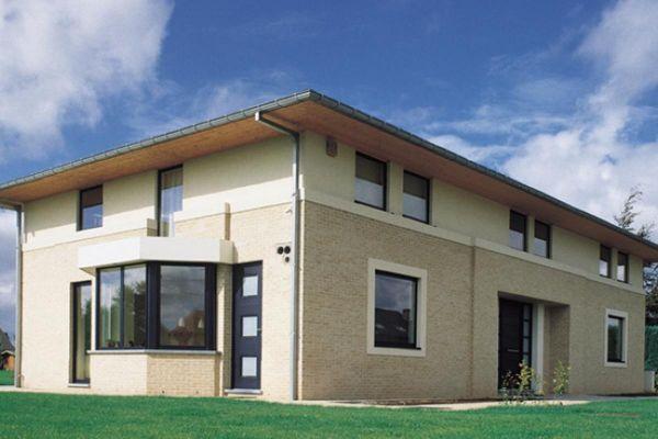 Stadtvilla H1 mit Klinker 103-164-WDF gelb, weiß nuanciert