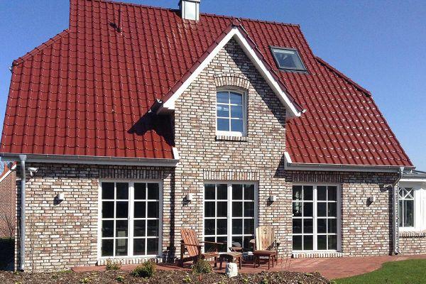 Landhaus H3 mit Klinker 104-112-NF braun-weiß