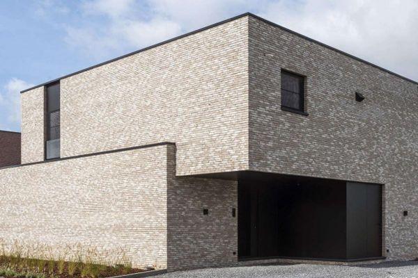 Bauhaus / Luxusvilla  mit Klinker 103-153-WDF hellgrau - weiß nuanciert
