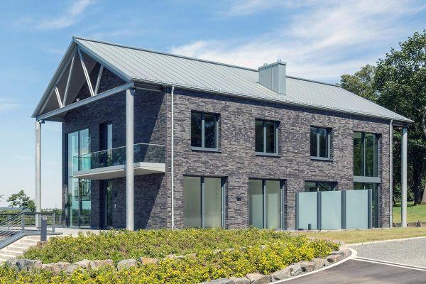 Modernes Einfamilienhaus H1 mit Klinker 101-147-ModF grau - anthrazit
