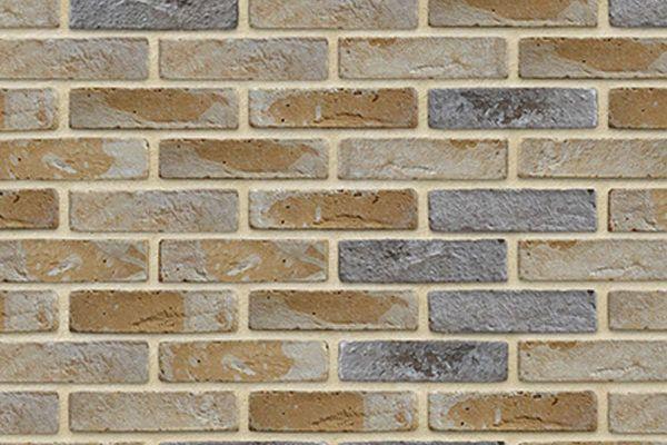 Wasserstrich-Riemchen BK-R-103-425 (Waalformat (WF)) beige - sand, grau nuanciert (Klinkerriemchen)
