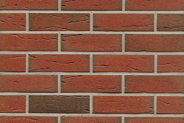 Strangpress-Riemchen BK-R-114-307 (Normalformat (NF)) rot - grau nuanciert (Klinkerriemchen)