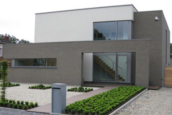 Bauhaus / Luxusvilla  H1 mit Klinker 103-163-WDF braun - grau nuanciert