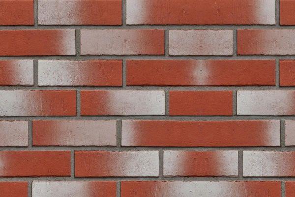 Strangpress-Riemchen BK-R-107-147-NF (Normalformat (NF)) rot, weiß nuanciert (Klinkerriemchen)
