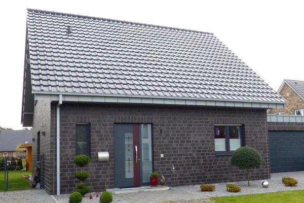 Einfamilienhaus H1 mit Klinker 101-114-2DF schwarz - blau -bunt